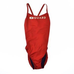 Speedo Womens Guard Flyback Swimsuit Red Size 8/34